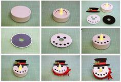 Basteln mit Teelichtern ua Schneemannkopf, zum Aufhängen  Battery Operated Tealight Characters!