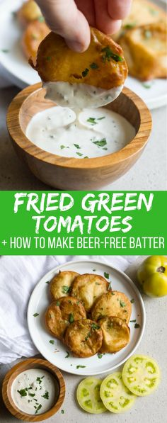 Fried green tomatoes are made super quick and easy with this beer-free batter! Find out how to make this delicious crispy Southern treat. Vegetarian Appetizers, Easy Appetizer Recipes, Yummy Appetizers, Vegetarian Recipes, Healthy Recipes, Delicious Snacks, Snacks Recipes, Veggie Recipes, Healthy Food