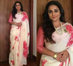 Vidya Balan is the best saree trend setter for plus size body types, style inspiration for plus size women. See top 40 Vidya Balan Saree Styles Bollywood Sarees Online, Bollywood Dress, Bollywood Fashion, Bollywood Actors, Indian Dresses, Indian Outfits, Saree Floral, Party Sarees, Vidya Balan