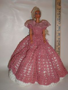 Beauful Handmade Crochet Dresses For Barbie/white under with pink bodice & skirt #NA