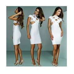 White Cut Out Bandage Dress