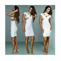 White Cut Out Bandage Dress