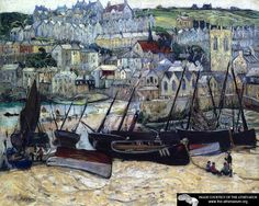 The Port of St. Ives, England  Richard Haley Lever - circa 1910  Private collection  Painting - oil on canvas  Height: 60.96 cm (24 in.), Width: 76.2 cm (30 in.)
