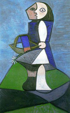 Child with flower, 1945 - Pablo Picasso Cubism, Surrealism Pablo Picasso, Kunst Picasso, Art Picasso, Picasso Paintings, Georges Braque, Spanish Painters, Spanish Artists, Cubist Portraits, Cubist Movement