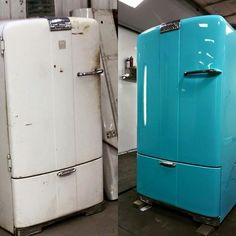 painting a fridge wallpapered fridge makeover wallpaper and kitchens fantastic makeovers painting appliances black Refrigerator Makeover, Paint Refrigerator, Painted Fridge, Vintage Refrigerator, Vintage Fridge, Retro Fridge, Vintage Kitchen, Painting Appliances, Vintage Appliances