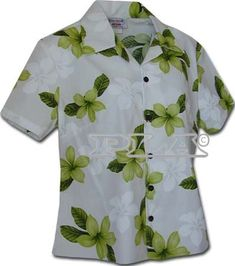 Hawaii Hibiscus Hawaiian Shirts  Womens Hawaiian Shirts  Aloha Shirt  Hawaiian Clothing  100 Cotton Green 2XL ** You can find more details by visiting the image link.
