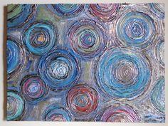 Abstract Circles Textured Original Acrylic Canvas Painting Foiled 24Lx18Wx1  Beautiful Colors and Texture via Etsy