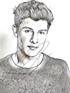 Shawn Mendes Drawing Sketch PRINT Wall Art Illustration