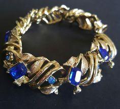 Vtg Bracelet Sapphire Blue Rhinestone Leaf Swirl Gold Tone Stripe STUNNING C364