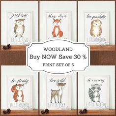 Woodland Nursery Wall Art Print. Buy all little woodland animals and save 30%. The set includes the following animals: Stay clever Little Fox, Grow wise Little Owl, Live Guardedly Little Hedgehog, Be Steady Little Squirrel, Live Wild Little Deer, Be Curious Little Raccoon. All printed on high quality fine art paper 350g matte. Perfect collection of wall art prints to your new born baby nursery. Or toddler child room, playroom.  More Woodland Themed products at www.RusticNatureArt.com