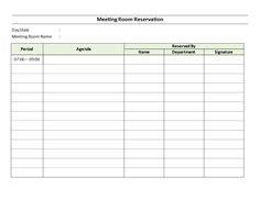 Free Meeting Room Reservation Sheet