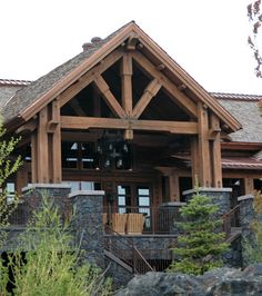 Image detail for -Timber Frame House Plans – Timber Home Living. ~~love this for a covered west porch~~ Timber Frame Homes, Timber House, Rustic Exterior, Exterior Design, Unique House Plans, House Front, Front Porch, The Ranch, House In The Woods