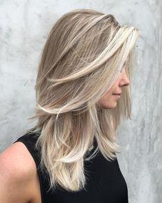 Medium Ash Blonde Balayage Hairstyle