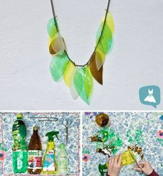 Upcycling jewelry from old plastic bottles - Upcycled Crafts Reuse Plastic Bottles, Plastic Bottle Crafts, Recycled Bottles, Plastic Jewelry, Plastic Bags, Pet Bottle, Bottle Art, Upcycled Crafts, Diy Crafts