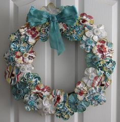 Decorations: Favorite Floral Christmas Wreath With Elegant Blue Ribbon And Cool White Retro Door. Decorating Christmas Wreath Ideas. Christmas Tree Design Ideas | trilotto.com