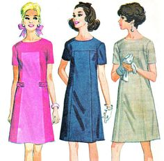 1960s Dress Pattern McCalls 9206 Mod Short Sleeve Yoked A Line Dress Day Evening Dress Womens Vintage Sewing Pattern Plus Size Bust 46 Uncut - NeenerbeenerKnits, on Etsy