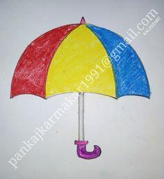 Very easy umbrella painting for kids with oil pastel by Pankaj karmakar Cute Easy Drawings, Art Drawings For Kids, Drawing For Kids, Easy Painting For Kids, Oil Pastel Techniques, Umbrella Painting, Fruits Photos, Pencil Portrait, Easy Paintings