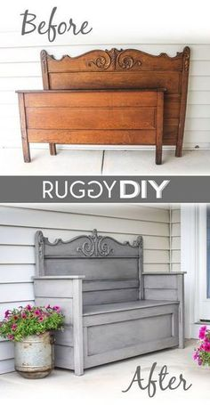 Repurposed Headboard Bench.