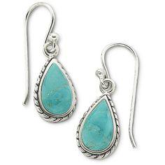 Sterling Silver Genuine Turquoise Earrings