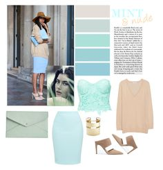 A fashion look from June 2015 featuring cashmere v neck sweater, lace bustier and summer midi skirt. Browse and shop related looks. Mint, Nude, Shoe Bag, Polyvore, Stuff To Buy, Shopping, Collection, Design, Women