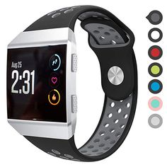 Buy Fitbit Ionic Bands,Wifit Soft Silicone Replacement Strap Accessory Breathable Wristbands for Fitbit Ionic Smart Watch (Black Gray, Large) Smart Watch Review, Wearable Technology, Black And Grey, Gray, Apple Watch Series, Smartwatch, Fitbit, Bands, Watches