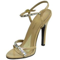 FABULICIOUS High Heel Sandal Rhinestones Ankle Strap Shoes MELODY-15 Taupe PU-9. Ankle strap pump with rhinestone embellishments.