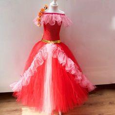 Disney Princess Elena Of Avalor inspired Costume, Tutu dress, Flamenco Dress Age… Red Tutu, Tulle Tutu, Tulle Dress, Tutu Costumes, Fairy Costumes, Olaf Costume, Princess Elena Of Avalor, Princess Tutu Dresses, Princess Costumes