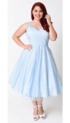 Unique Vintage Plus Size 1950s Pale Blue Swiss Dot High Society Swing Dress