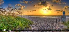 Sunrise at Singer Island Ocean Reef Park Palm Beach County Florida entrance to beach.