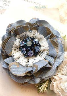 French Blue Wedding Sash Floral Bridal Belt Blue Flower