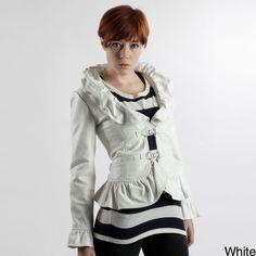Women's Luxury Leather Ruffle Jacket