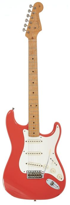 Musical Instruments:Electric Guitars, 1957 Fender Stratocaster Fiesta Red Solid Body Electric Guitar,Serial # 023871.... Image #1 #Guitartypes