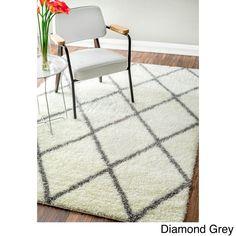nuLoom Moroccan-style Berber Trellis Shag Rug x (Diamond Brown) (Polypropylene, Geometric) White Shag Area Rug, Plush Area Rugs, Moroccan Pattern, Thing 1, Berber Carpet, Shag Carpet, Rugs Usa, Moroccan Style, Contemporary Rugs