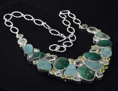 925 Sterling Silver Chrysocolla, Green Amethyst, Peridot, Crystal Necklace 124gm #Handmade #Necklace