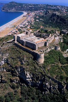 Italy Milazzo Aerial Castle View
