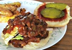 A chopped mushroom Vegan BBQ sandwich with an authentic Texas Smokehouse taste. Top it off with some homemade BBQ sauce and a tangy mustard cole slaw. Yum!