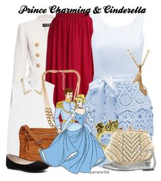"""""""Prince Charming & Cinderella"""" by amarie104 ❤ liked on Polyvore featuring Balmain, Chicwish, Forever New, Miu Miu, NLY Accessories, Black Rivet, Disney Couture, Topshop, Verali and women's clothing"""