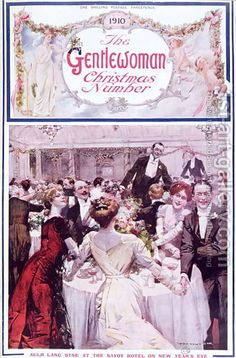 New Year's Eve at the Savoy Hotel, London, cover illustration for 'The Gentlewoman' magazine, Christmas 1910 (colour litho). The Bridgeman Art Library. Savoy Hotel London, London City, Old Fashion Christmas Tree, Popular Paintings, Old Fashioned Christmas, Bond Street, Oil Painting Reproductions, Art Gallery, Winter