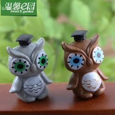 50PCSHome decorationMoss micro landscape furnishing articles DIY assembly resin accessories toys cartoon owl figurines(China (Mainland))