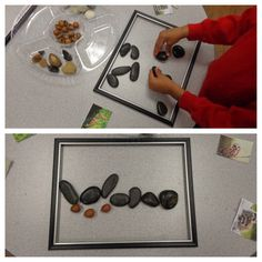Creating images of forest animals using natural materials.