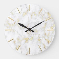 Shop white marble faux gold foil details large clock created by amoredesign. Personalize it with photos & text or purchase as is!