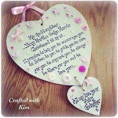 Goddaughter gift. Handmade wooden heart shape wall hanging plaque