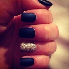 Navy nails, Matt and glitter