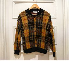 Vintage large mustard yellow x black plaid cardigan by EcoCentrik # mustard yellow plaid tartan cardigan #vintage plaid # british plaid www.etsy.com,/shop/ecocentrik
