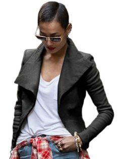 Wide Collar Faux Leather Biker Jacket & Jackets / Coats - at Jollychic