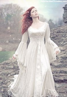 Dresses from renisance time | 895.00 Victoria Velvet and Lace Medieval Wedding Gown Custom