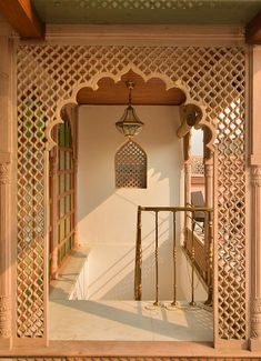 The fine hand carved stone jalis or latticed screens with traditional indian or Islamic geometric patterns and motifs have also been… Pooja Room Door Design, Home Room Design, Home Interior Design, Interior Decorating, Indian Home Interior, Indian Home Decor, Hotel Tumblr, Room Partition Designs, Moroccan Interiors