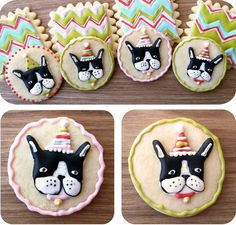Boston Terrier Cookies: I love the rendering of the BT's on this cookie.  Artsy & super cute!!