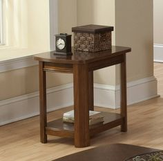 Leighla African Chestnut Hardwood Solid Chairside Table