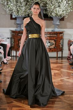 Romona Keveza Couture black gown with gold belt, Spring 2013